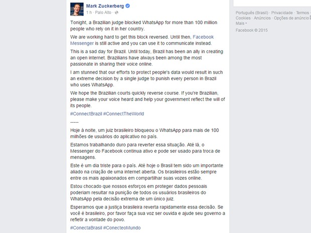 Mark Zuckerberg, cofundador e presidente-executivo do Facebook, comenta bloqueio do WhatsApp no Brasil