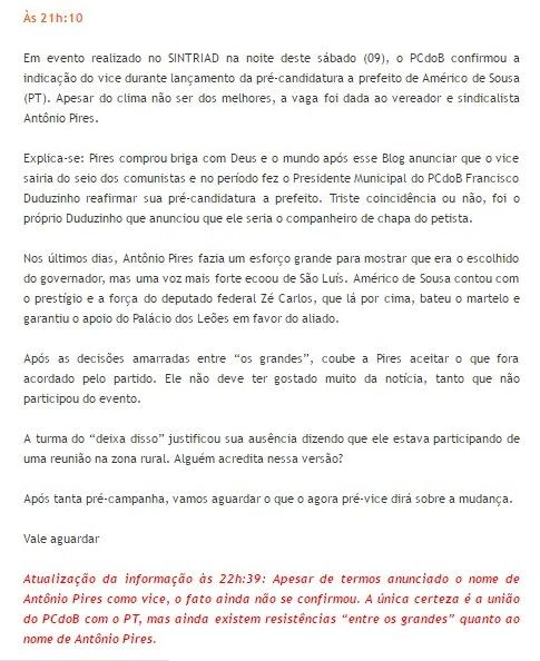 Matéria do Blog com a devida correção da informação: alvo da ira de Antônio Pires
